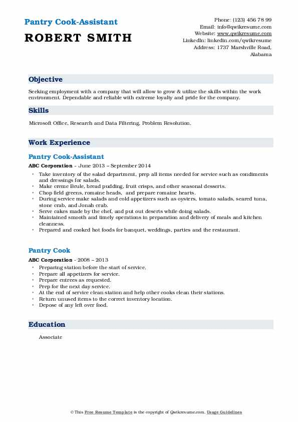 Pantry Cook-Assistant Resume Example