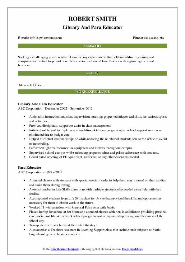 Library And Para Educator Resume Model