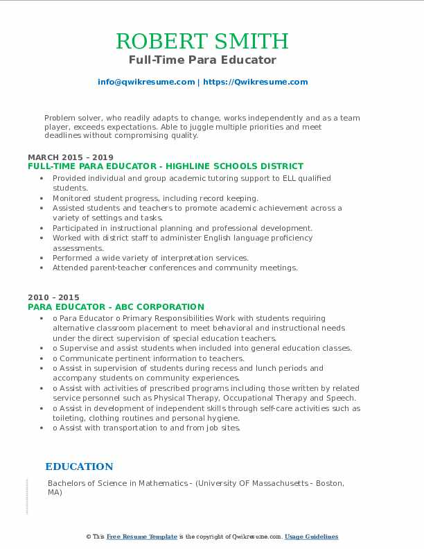 Full-Time Para Educator Resume Template
