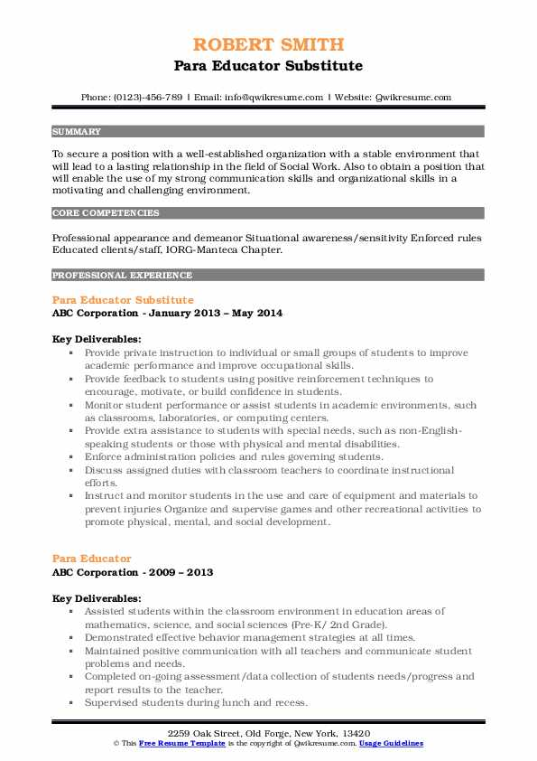 Para Educator Substitute Resume Example