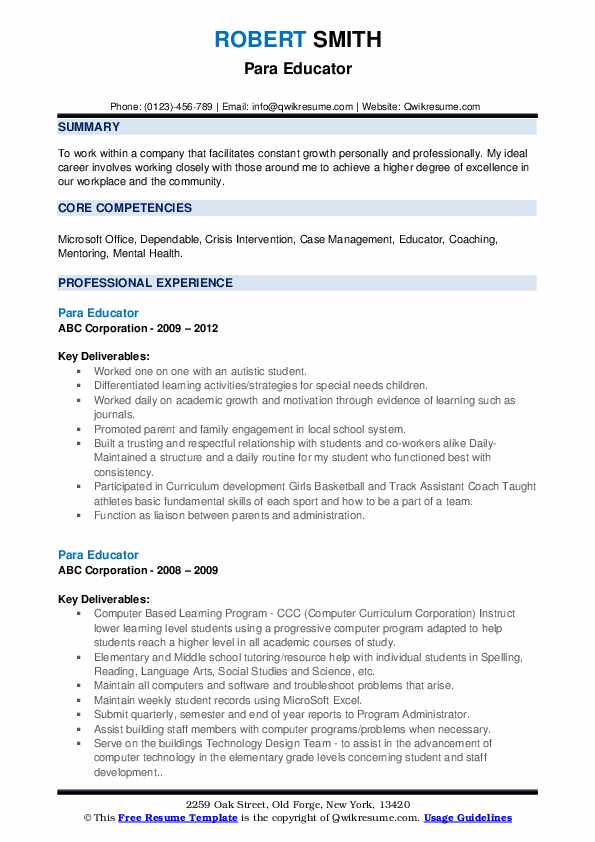 Para Educator Resume example