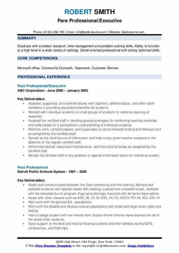 Para Professional/Executive Resume Sample
