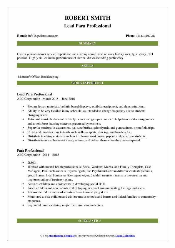Lead Para Professional Resume Format