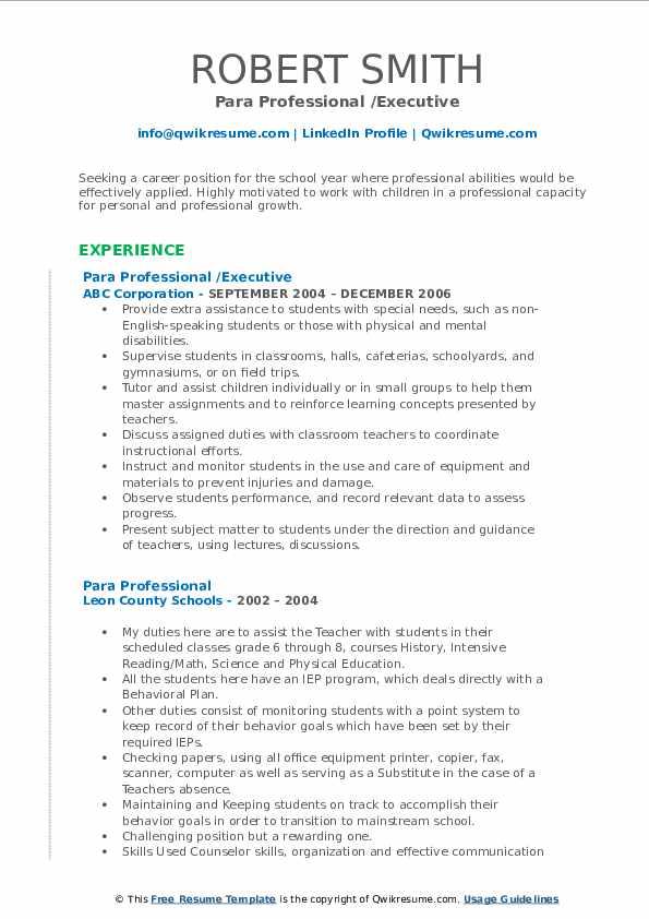 Para Professional /Executive Resume Format