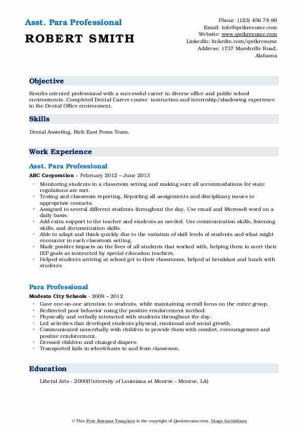 Asst. Para Professional Resume Model