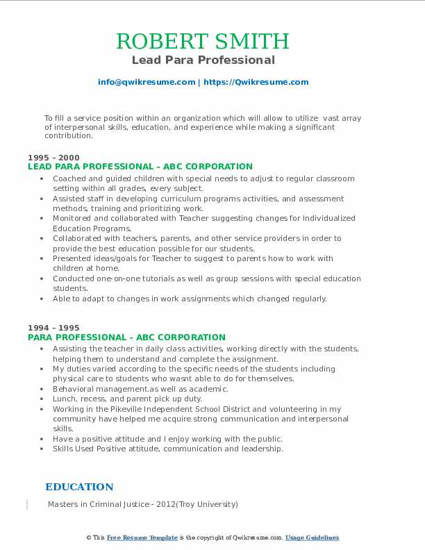 Lead Para Professional Resume Template