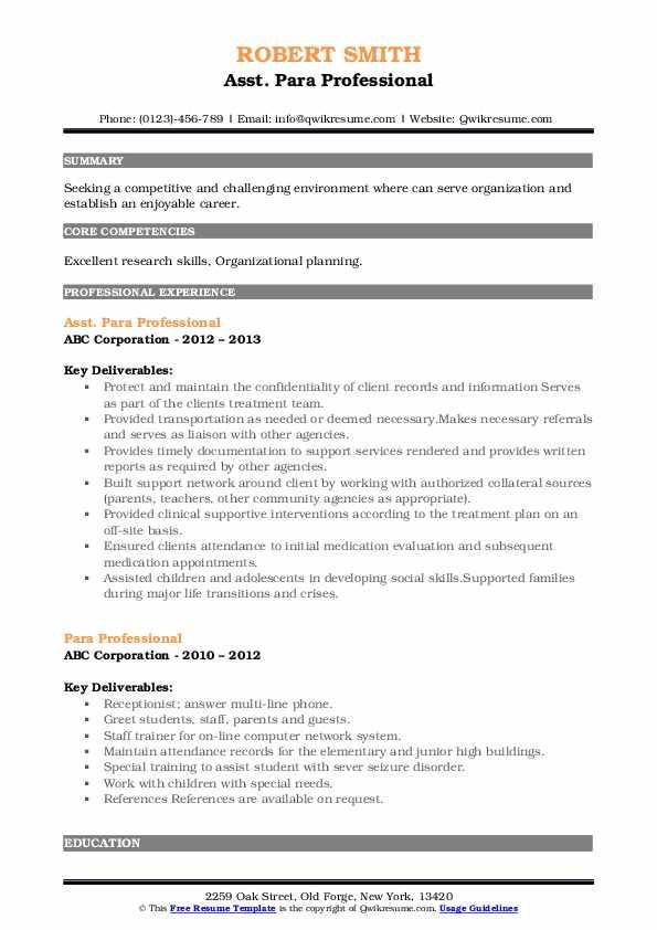 Asst. Para Professional Resume Format