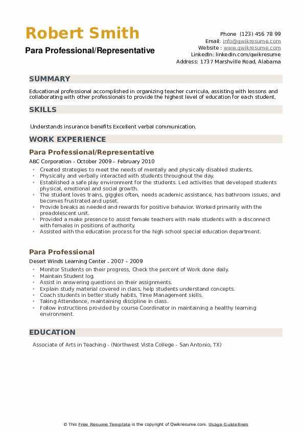 Para Professional/Representative Resume Format