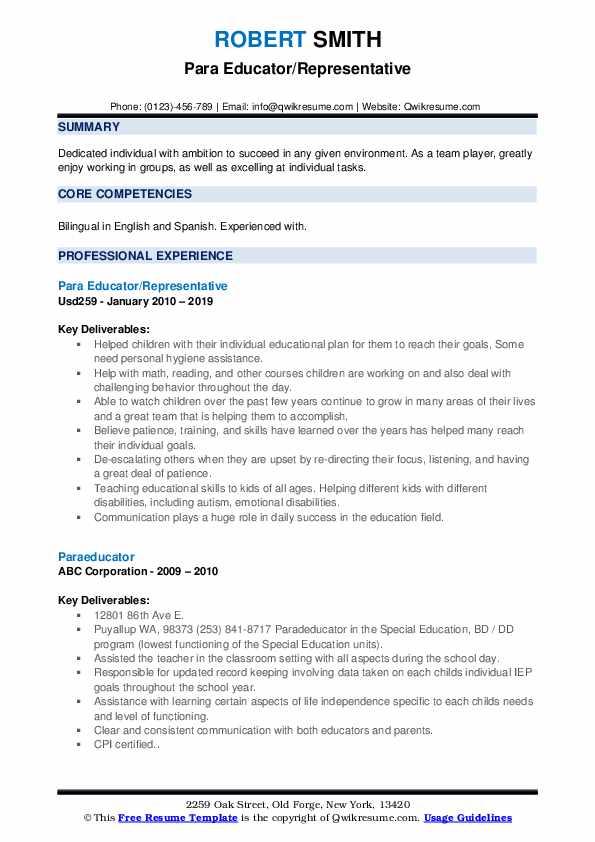 Para Educator/Representative Resume Sample