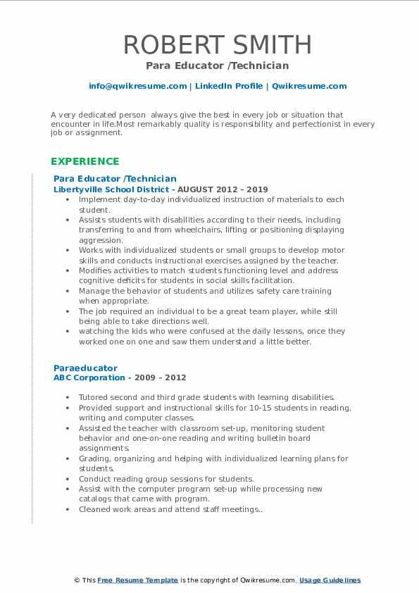 Para Educator /Technician Resume Example