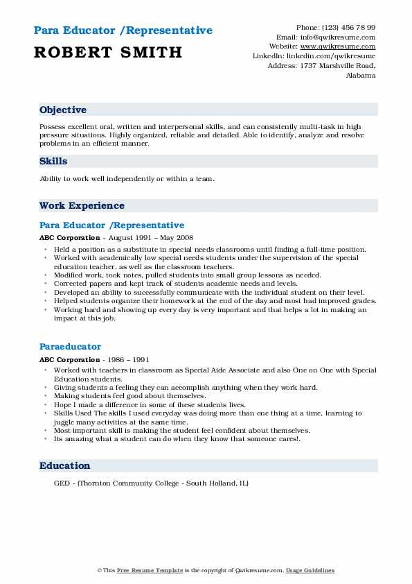 Para Educator /Representative Resume Sample