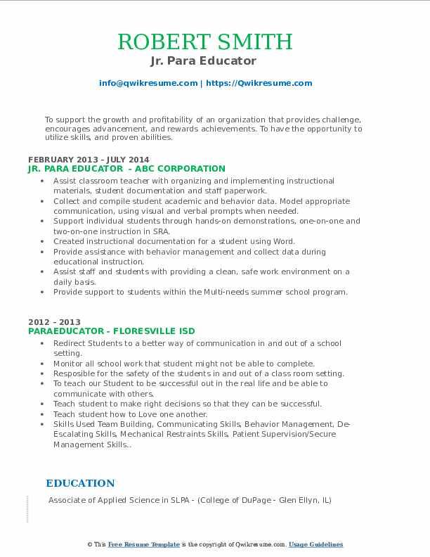 Jr. Para Educator  Resume Sample