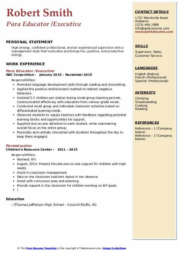 Para Educator /Executive Resume Example