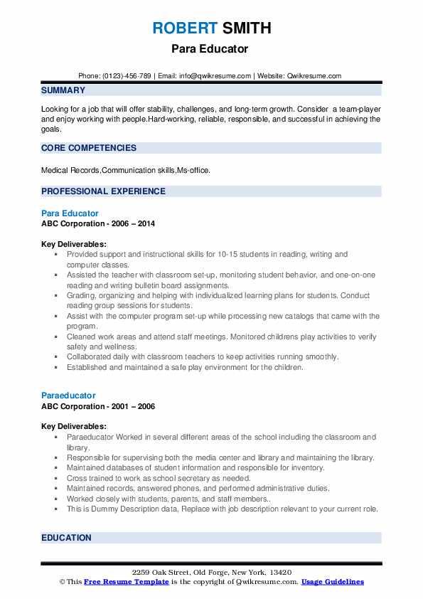Paraeducator Resume example