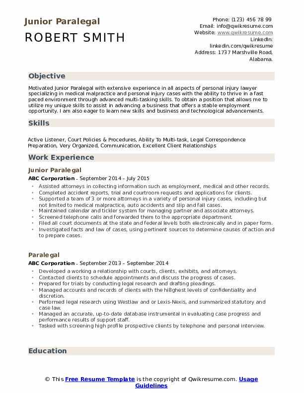 Junior Paralegal Resume Format