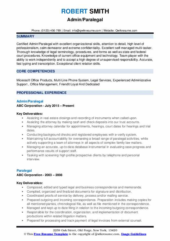 Admin/Paralegal Resume Example