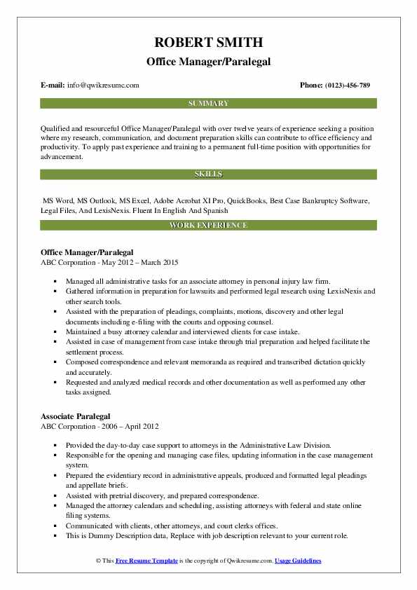 Office Manager/Paralegal Resume Template