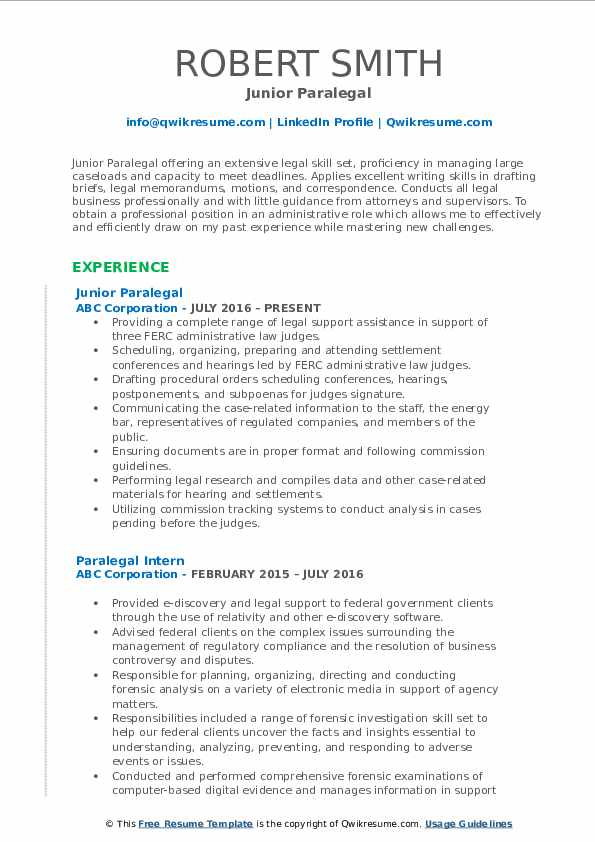 Junior Paralegal Resume Example