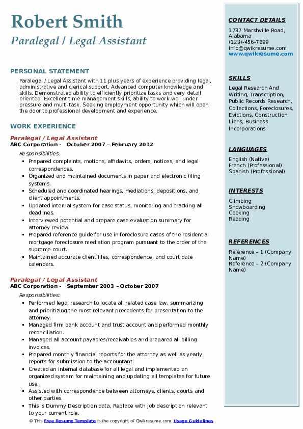 Paralegal Resume Samples Qwikresume