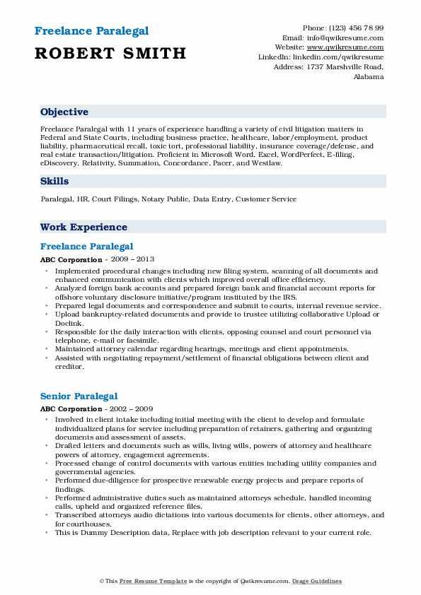paralegal resume samples