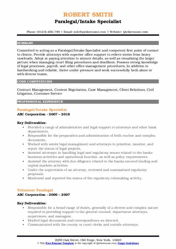Paralegal/Intake Specialist Resume Example