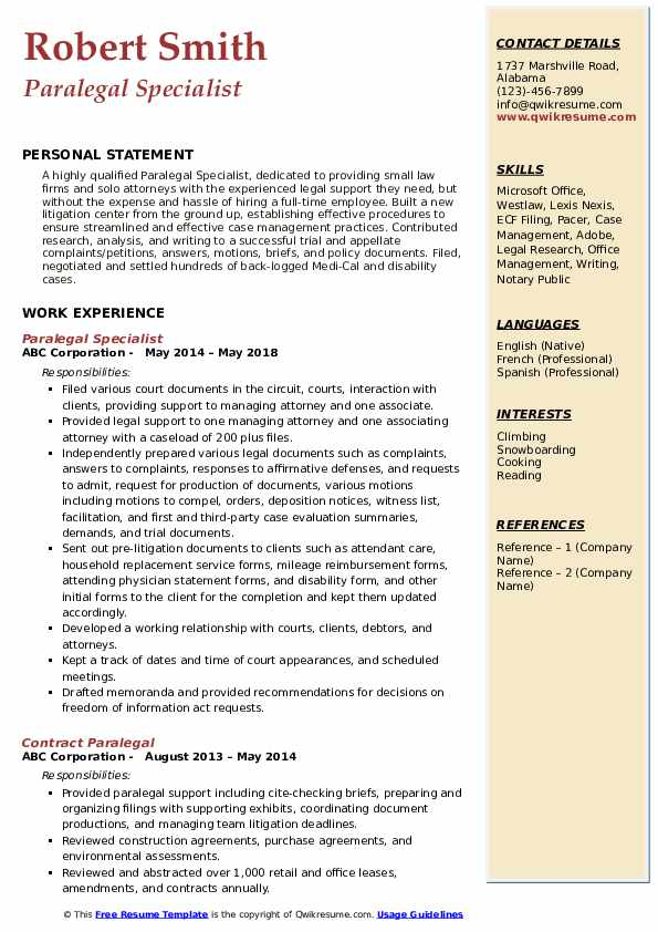Paralegal Specialist Resume Example