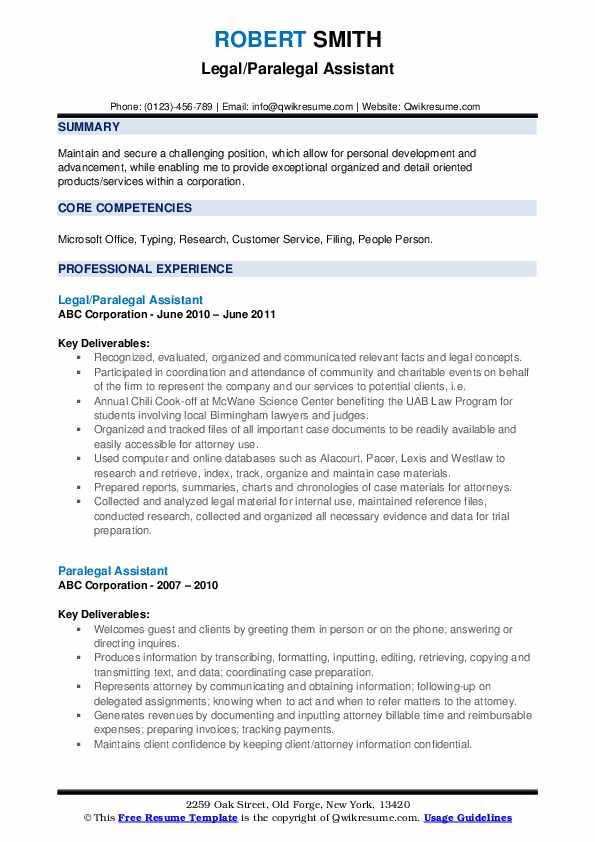 Legal/Paralegal Assistant Resume Sample