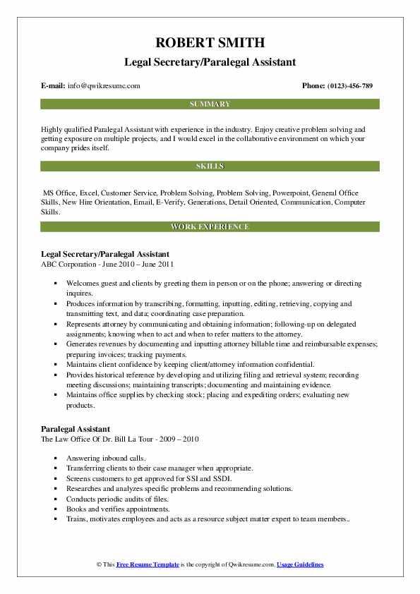Legal Secretary/Paralegal Assistant Resume Sample