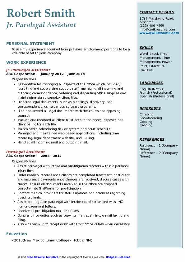 Jr. Paralegal Assistant Resume Template