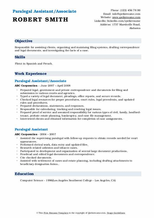 Paralegal Assistant/Associate Resume Format