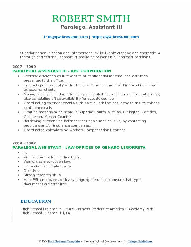 Paralegal Assistant III Resume Template