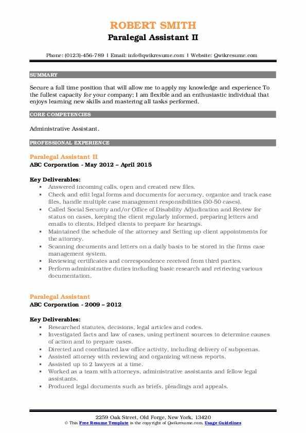 Paralegal Assistant II Resume Model