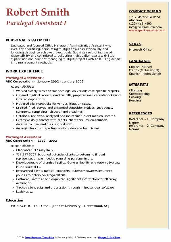 Paralegal Assistant I Resume Sample