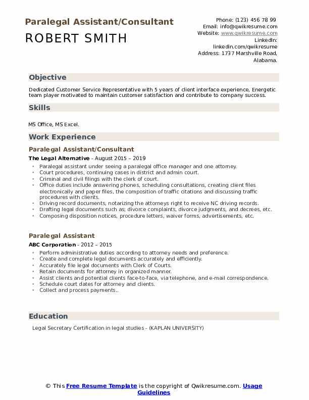 Paralegal Assistant/Consultant Resume Model