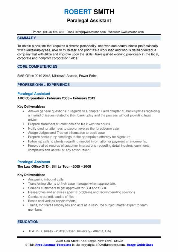 Paralegal Assistant Resume example