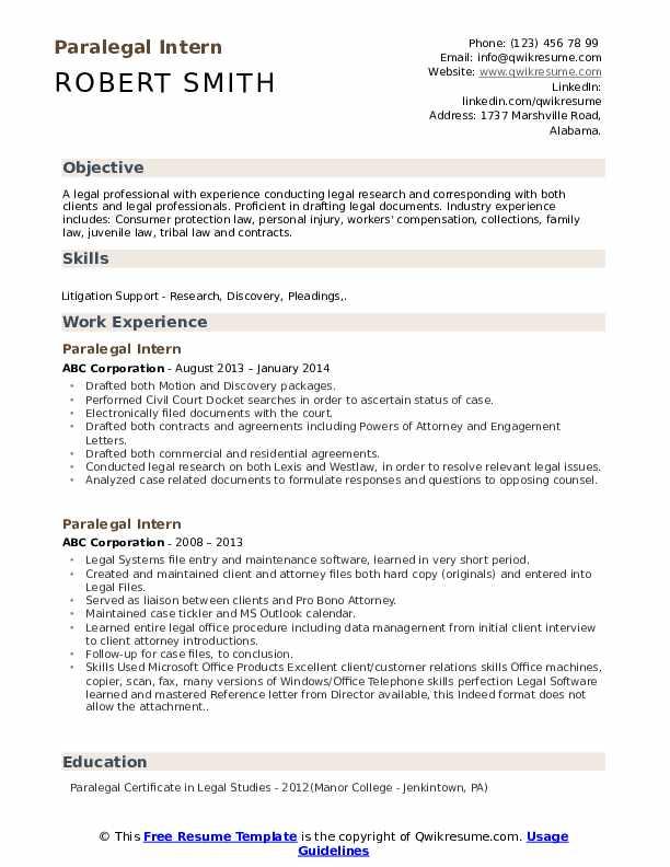 paralegal intern resume samples
