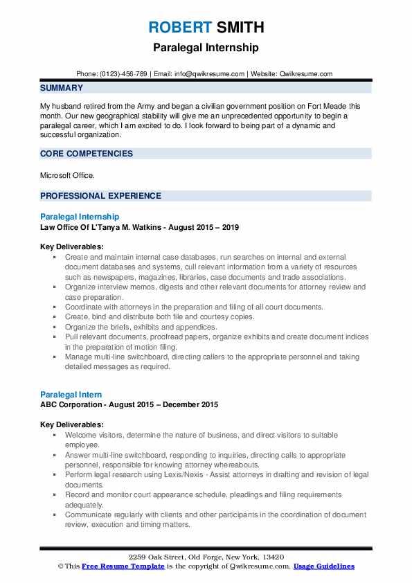 Paralegal Internship Resume Example