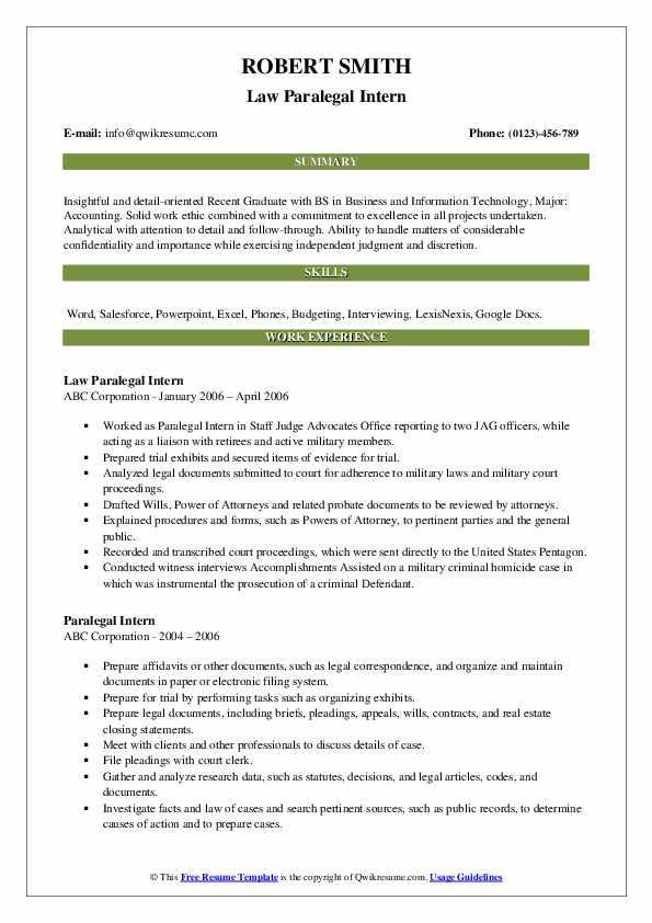 Law Paralegal Intern Resume Format