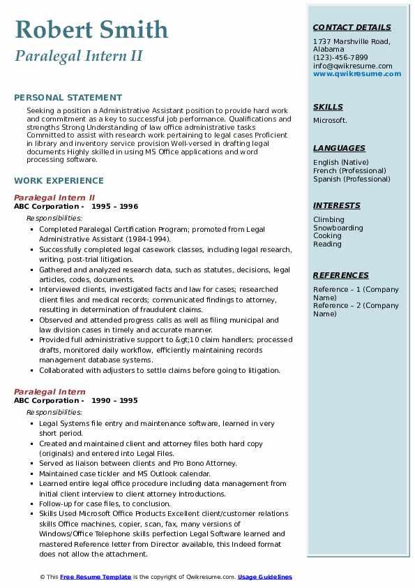 Paralegal Intern II Resume Sample
