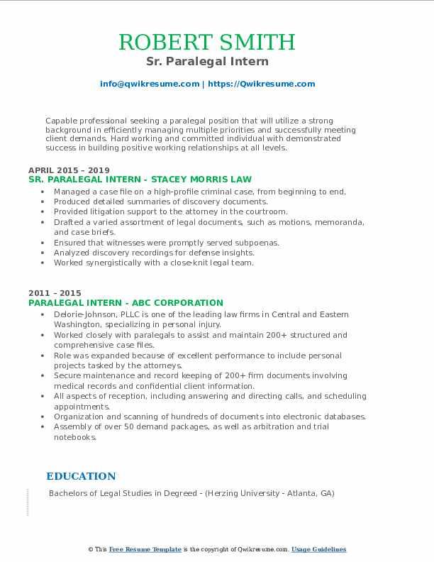 Sr. Paralegal Intern Resume Model