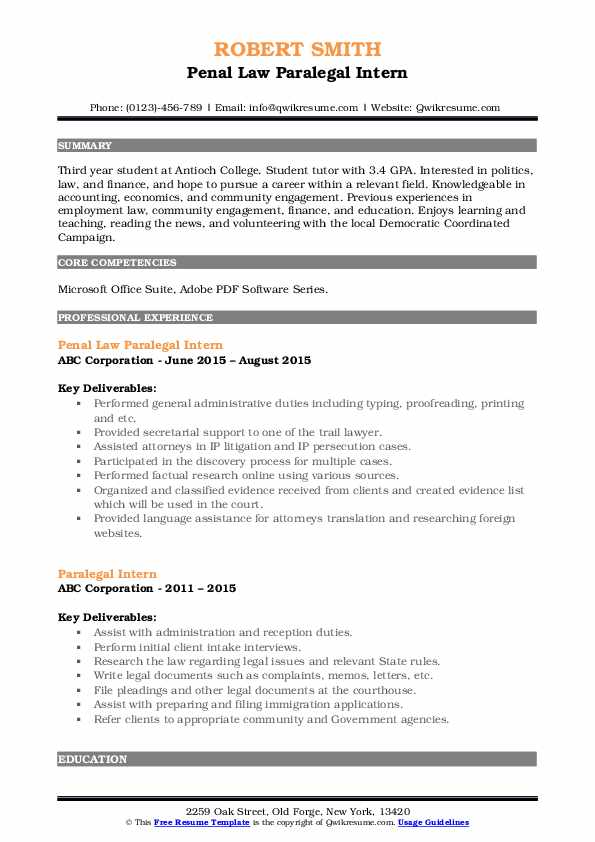 Paralegal Intern Resume Samples | QwikResume