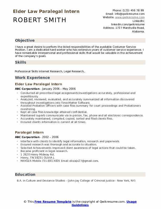 Elder Law Paralegal Intern Resume Format