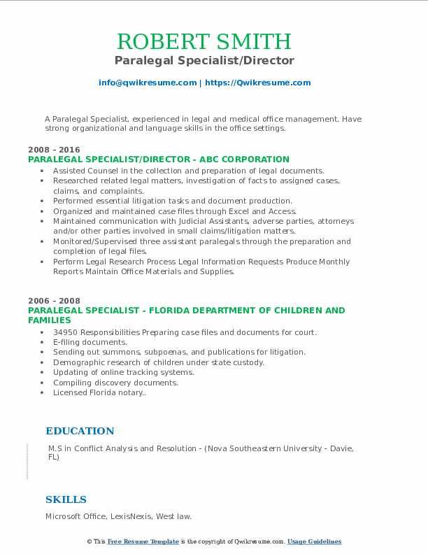 Paralegal Specialist Resume Samples Qwikresume