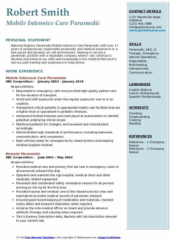 Mobile Intensive Care Paramedic Resume Sample