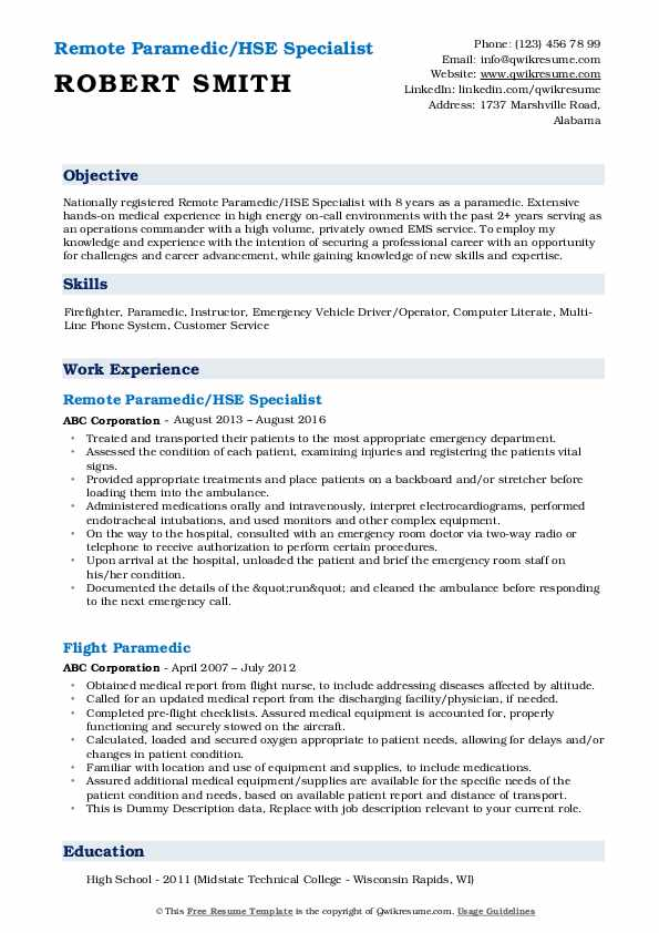 Remote Paramedic/HSE Specialist Resume Example