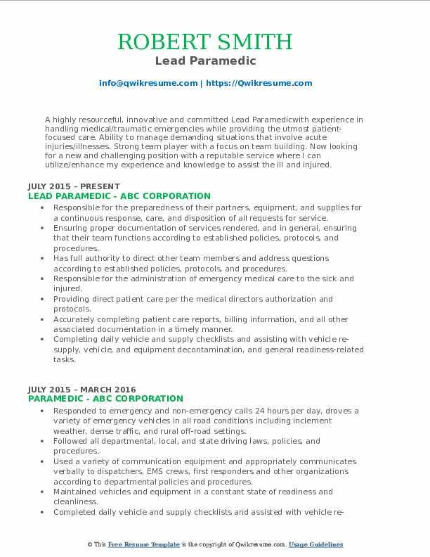 Lead Paramedic Resume Sample