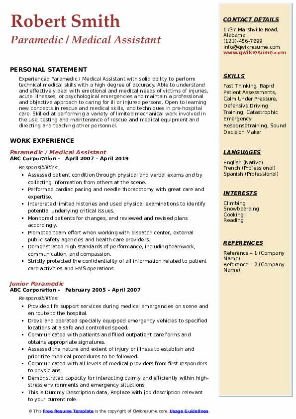 Paramedic / Medical Assistant Resume Template