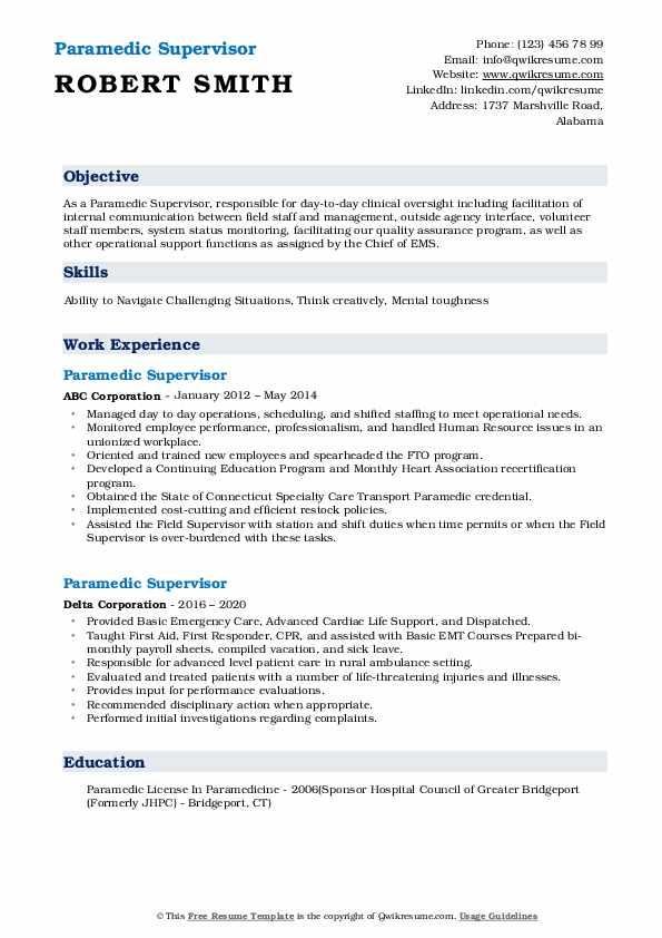 paramedic supervisor resume samples  qwikresume