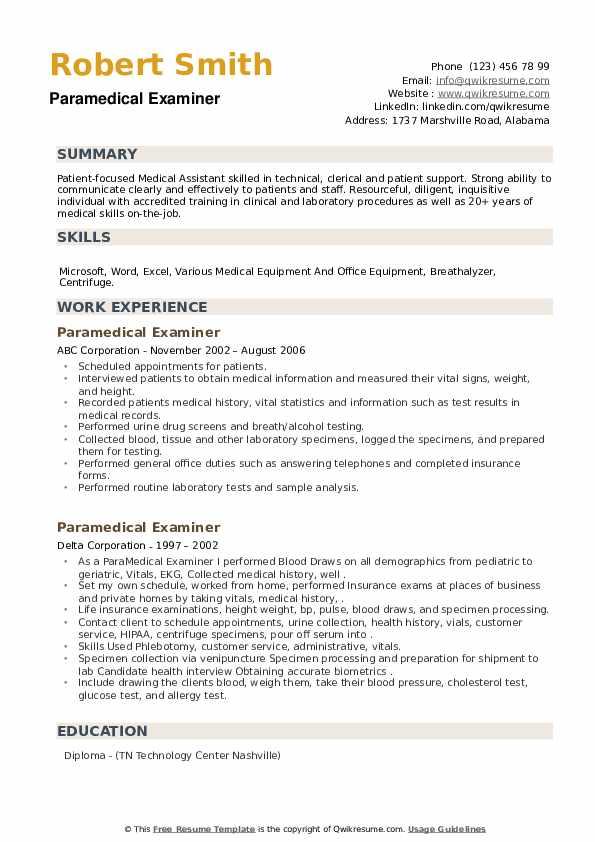 Paramedical Examiner Resume example