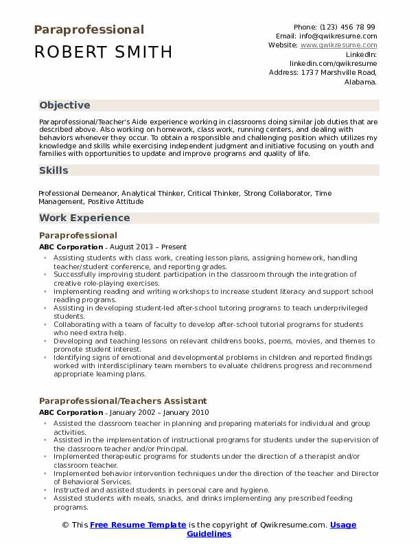 Cover Letter For Paraprofessional from assets.qwikresume.com